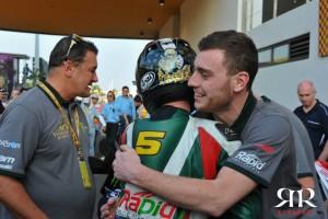Sam Neate with Stuart Easton after his 2014 macau GP win (Photo: Luca Colombara)